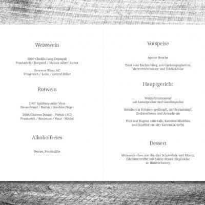 kartlerei karten drucken hochzeit heiraten menue menuekarte blumenholz. 2 3 400x400 - Menükarte Blumenholz