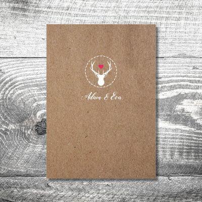 kartlerei karten drucken hochzeit heiraten menue menuekarte hirschherz 1 400x400 - Menükarte Herzhirsch