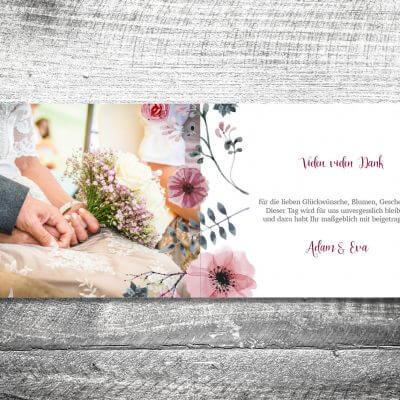 kartlerei karten drucken hochzeitseinladung heiraten bayrisch heimatgefuehl blumenholz danke 2 3 400x400 - Danke Blumenholz | 4-Seitig | ab 1,00 €