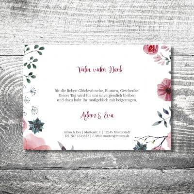 kartlerei karten drucken hochzeitseinladung heiraten bayrisch heimatgefuehl blumenholz danke 2 400x400 - Danke Blumenholz | 2-Seitig | ab 0,70 €