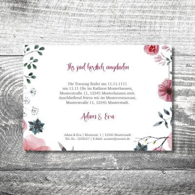 kartlerei karten drucken hochzeitseinladung heiraten bayrisch heimatgefuehl blumenholz einladung 2 400x400 - Hochzeit Blumenholz   2-Seitig    ab 0,70 €