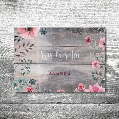 kartlerei karten drucken hochzeitseinladung heiraten bayrisch heimatgefuehl blumenholz einladung 400x400 - Hochzeit Blumenholz | 4-Seitig | ab 1,00 €