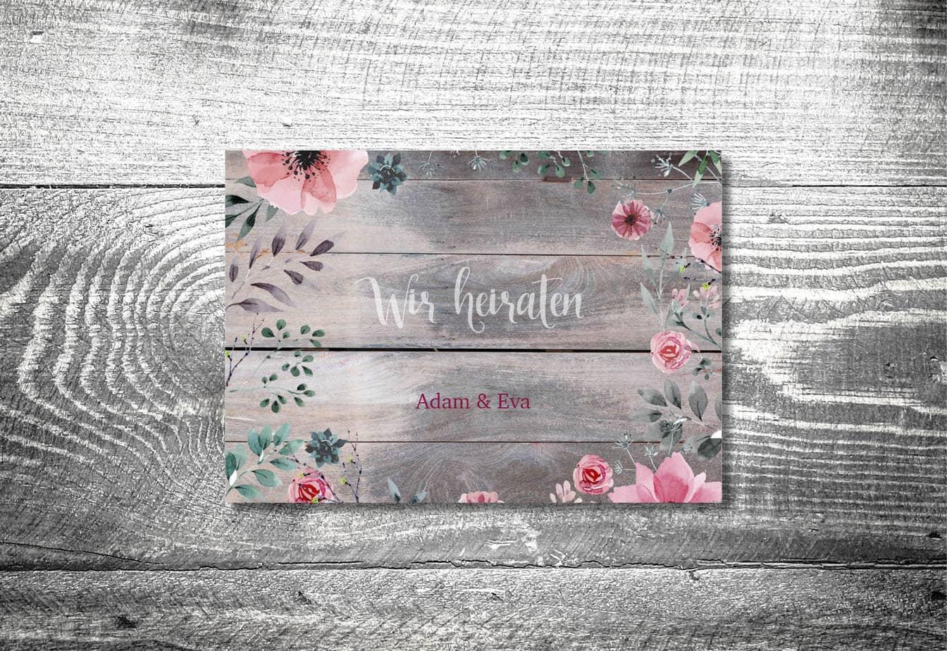 kartlerei karten drucken hochzeitseinladung heiraten bayrisch heimatgefuehl blumenholz einladung - Hochzeitskarten Set