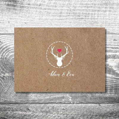 kartlerei karten drucken hochzeitseinladung heiraten bayrisch heimatgefuehl herzhirsch einladung 400x400 - Hochzeit Herzhirsch | 4-Seitig | ab 1,00 €