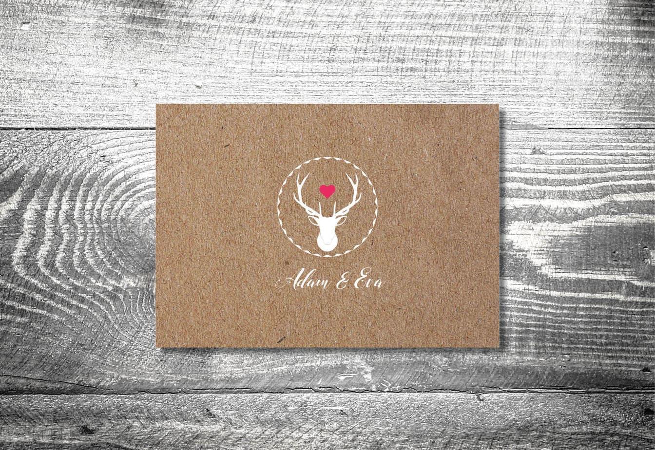 kartlerei karten drucken hochzeitseinladung heiraten bayrisch heimatgefuehl herzhirsch einladung - Hochzeitskarten Set