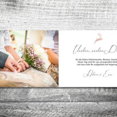 kartlerei karten drucken hochzeitseinladung heiraten bayrisch heimatgefuehl hirsch rosegold danke 2 3 400x400 - Danke Hirsch Rosegold | 4-Seitig | ab 1,00 €