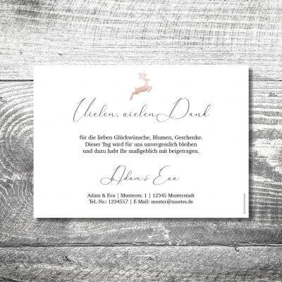 kartlerei karten drucken hochzeitseinladung heiraten bayrisch heimatgefuehl hirsch rosegold danke 2 400x400 - Danke Hirsch Rosegold | 2-Seitig | ab 0,70 €