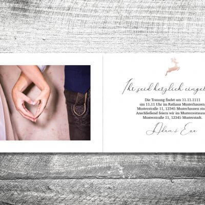 kartlerei karten drucken hochzeitseinladung heiraten bayrisch heimatgefuehl hirsch rosegold einladung 2 3 400x400 - Hochzeit Hirsch Rosegold | 4-Seitig | ab 1,00 €