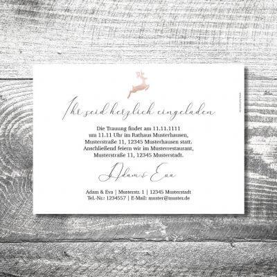 kartlerei karten drucken hochzeitseinladung heiraten bayrisch heimatgefuehl hirsch rosegold einladung 2 400x400 - Hochzeit Hirsch Rosegold   2-Seitig    ab 0,70 €