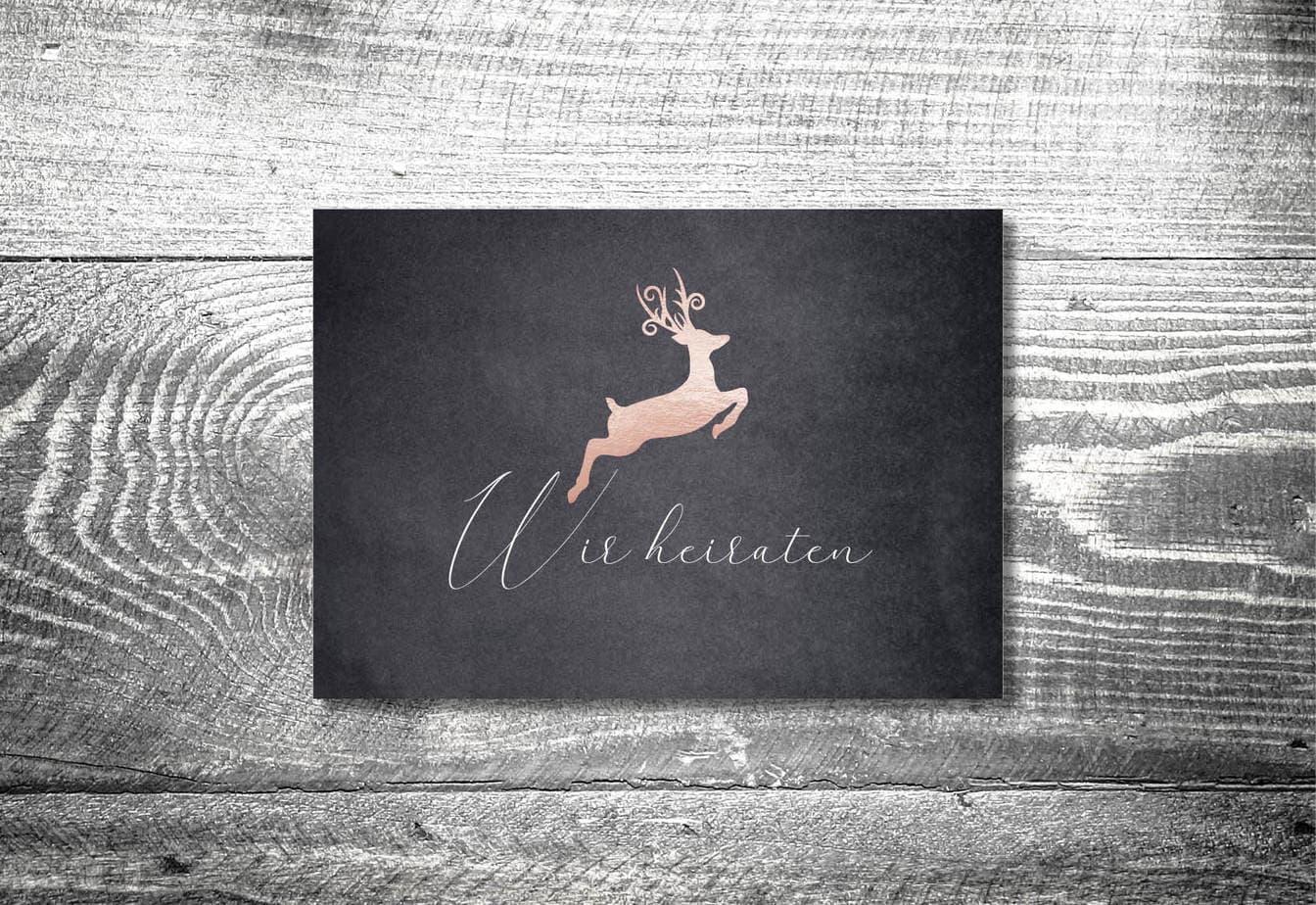 kartlerei karten drucken hochzeitseinladung heiraten bayrisch heimatgefuehl hirsch rosegold einladung - Hochzeitskarten Set