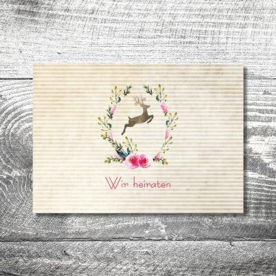 kartlerei karten drucken hochzeitseinladung heiraten bayrisch heimatgefuehl hirschkranz einladung 400x400 - Hochzeit Hirschkranz | 2-Seitig  | ab 0,70 €