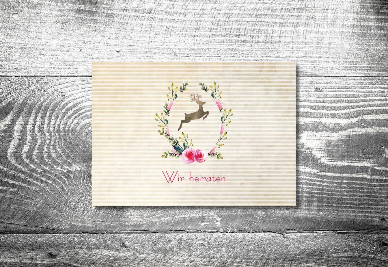 kartlerei karten drucken hochzeitseinladung heiraten bayrisch heimatgefuehl hirschkranz einladung - Hochzeitskarten Set