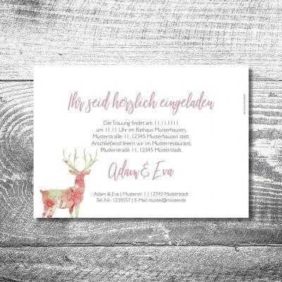 kartlerei karten drucken hochzeitseinladung heiraten bayrisch heimatgefuehl leinenhirsch einladung 2 400x400 - Hochzeit Leinenhirsch | 2-Seitig  | ab 0,70 €