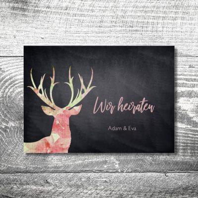 kartlerei karten drucken hochzeitseinladung heiraten bayrisch heimatgefuehl leinenhirsch einladung 400x400 - Hochzeit Leinenhirsch | 4-Seitig | ab 1,00 €