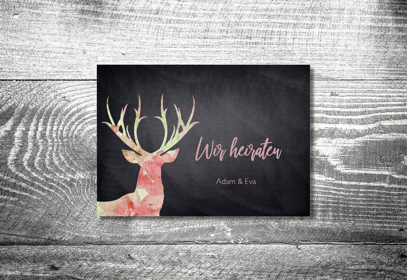 kartlerei karten drucken hochzeitseinladung heiraten bayrisch heimatgefuehl leinenhirsch einladung - Hochzeitskarten Set