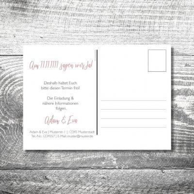 kartlerei karten drucken hochzeitseinladung heiraten bayrisch heimatgefuehl leinenhirsch save the date postkarte 400x400 - Save the Date Leinenhirsch Postkarte | 2-Seitig | ab 0,70 €