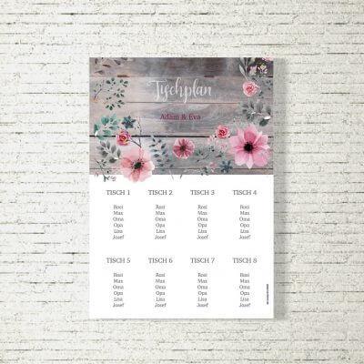 Tischplan Hochzeit Blumenholz