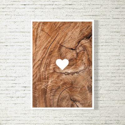 Poster/Bild Herzl Holz 1