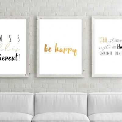Poster-Set Be Happy