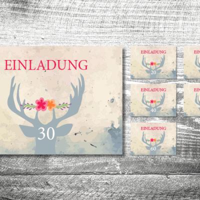 Blumenhirsch Runder Geburtstag | 2-Seitig | ab 0,70 €
