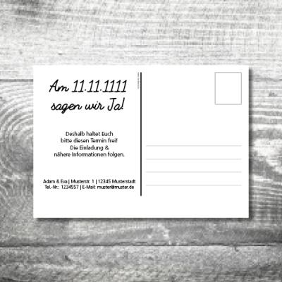 Save the Date Holz Postkarte | 2-Seitig | ab 0,70 €