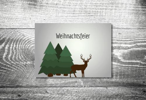 Weihnachtsfeier Waldlandschaft   4-Seitig