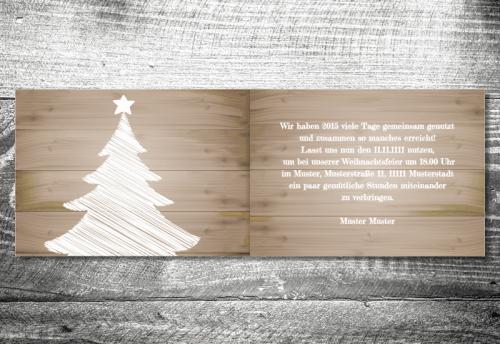 Weihnachtsfeier Holz   4-Seitig