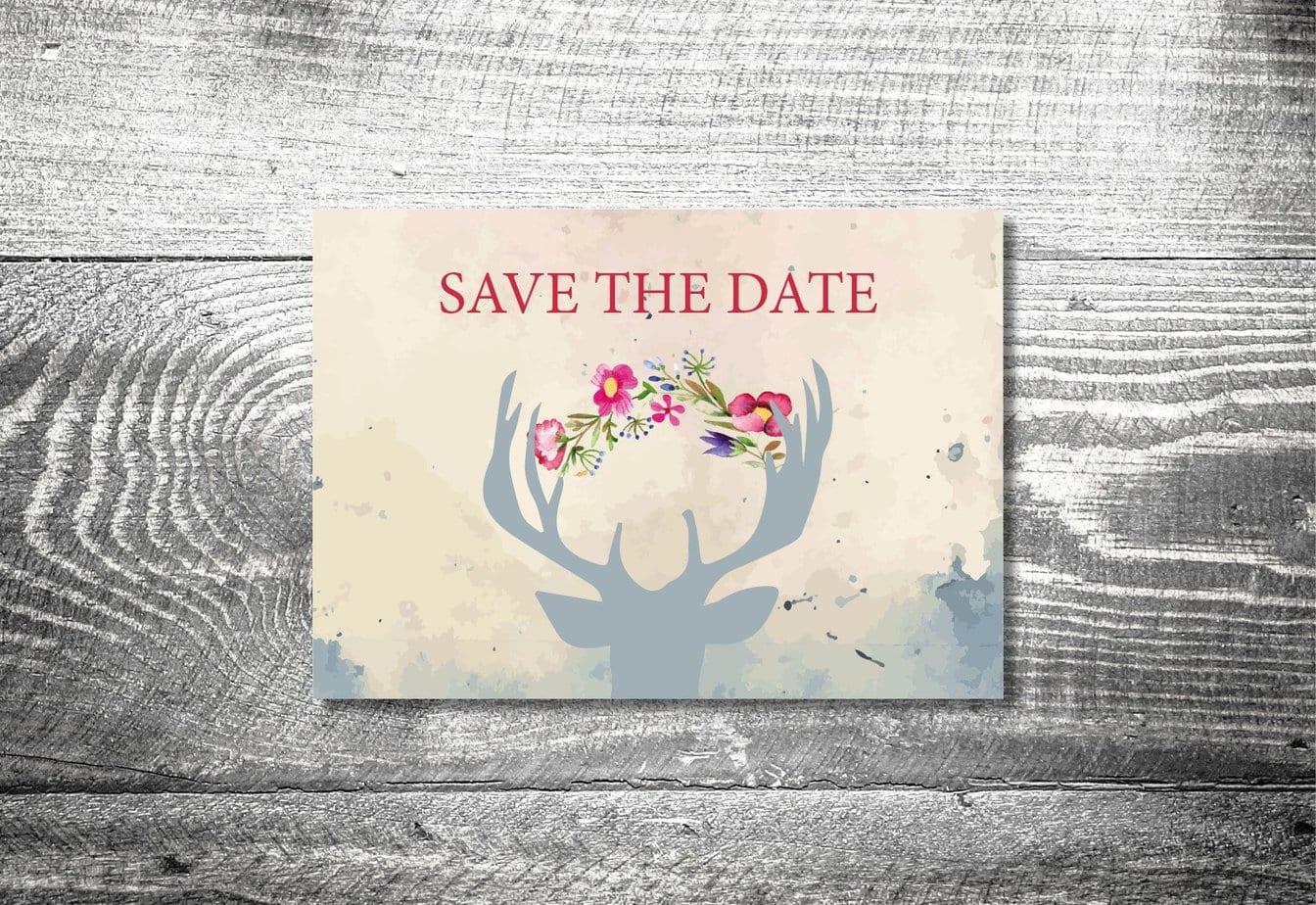 save the date hirsch postkarte 2 seitig ab 0 70 kartlerei. Black Bedroom Furniture Sets. Home Design Ideas