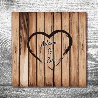 Hochzeit Holz | 6 Seitig 148x148mm| Ab 1,90 U20ac