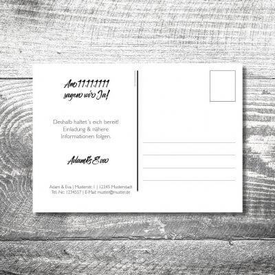 Save the Date Herzchenholz Postkarte | 2-Seitig | ab 0,70 €