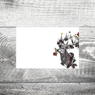 Tischkarte Hirschblümchen
