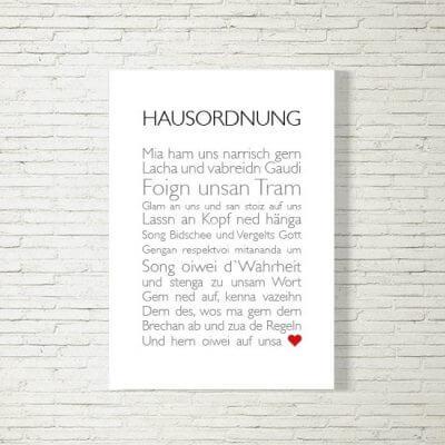 kartlerei poster bild drucken bayrisch spruch hausordnung 400x400 - Poster und Bilder