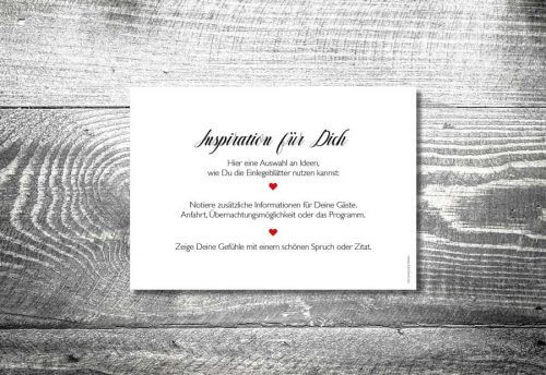 Einlegblatt Hochzeitskarten | 1-Seitig bedruckt