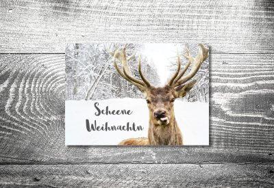 kartlerei karten drucken gestalten bayrische weihnachtskarten frecher hirsch 400x275 - Weihnachtskarten auf bayrisch