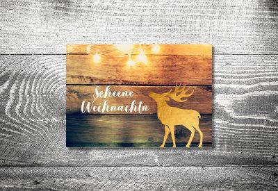 kartlerei karten drucken gestalten bayrische weihnachtskarten goldener hirsch 400x275 - Weihnachtskarten auf bayrisch