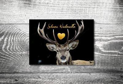 kartlerei karten drucken gestalten bayrische weihnachtskarten winterhirsch 400x275 - Weihnachtskarten auf bayrisch