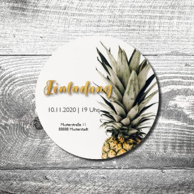 Bierdeckel Ananas feiert