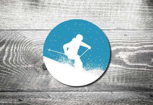 Bierdeckel Skifahrer