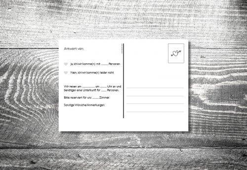 Antwortkarte Hochzeit Postkarte