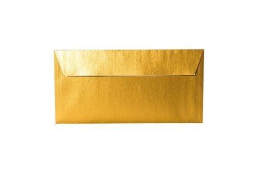 Umschläge DIN lang 110 x 220 mm – Gold mit Haftstreifen