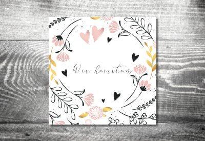 kartlerei karten drucken hochzeit einladung golden flora 400x275 - Timeline Hochzeit