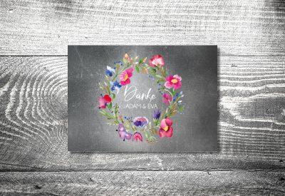 kartlerei karten drucken hochzeitseinladung heiraten dankeskarte bluemchen 400x275 - Dankeskarte mit Fotostreifen