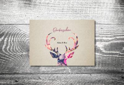 kartlerei karten drucken hochzeitseinladung heiraten dankeskarte floralhirsch 400x275 - Dankeskarte mit Fotostreifen