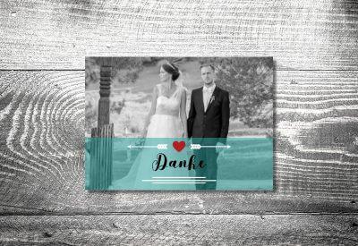 kartlerei karten drucken hochzeitseinladung heiraten dankeskarte fotolove 400x275 - Dankeskarte mit Fotostreifen