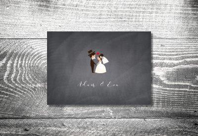 kartlerei karten drucken hochzeitseinladung heiraten dankeskarte hochzeitspaar 400x275 - Dankeskarte mit Fotostreifen
