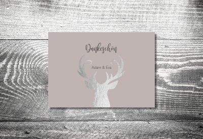 kartlerei karten drucken hochzeitseinladung heiraten dankeskarte silberner hirsch 400x275 - Dankeskarte mit Fotostreifen