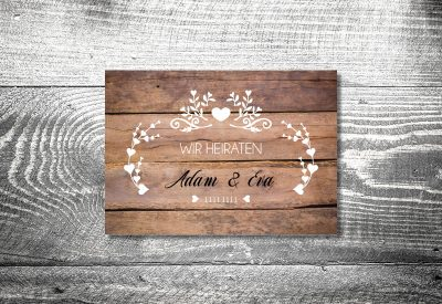 kartlerei karten drucken hochzeitseinladung heiraten einladung vintagholz 400x275 - Timeline Hochzeit