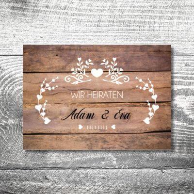 kartlerei karten drucken hochzeitseinladung heiraten einladung vintagholz 400x400 - Hochzeitskarten
