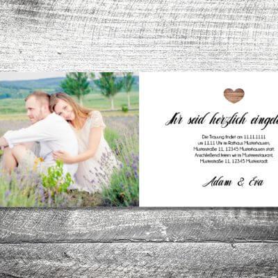kartlerei karten drucken hochzeitseinladung heiraten einladung vintagholz innen 400x400 - Hochzeitskarten
