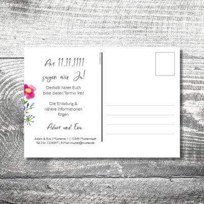 Save the Date Blümchen Postkarte | 2-Seitig | ab 0,70 €